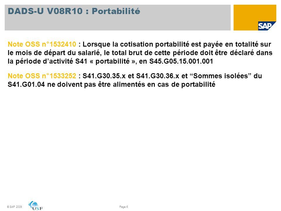 DADS-U V08R10 : Portabilité