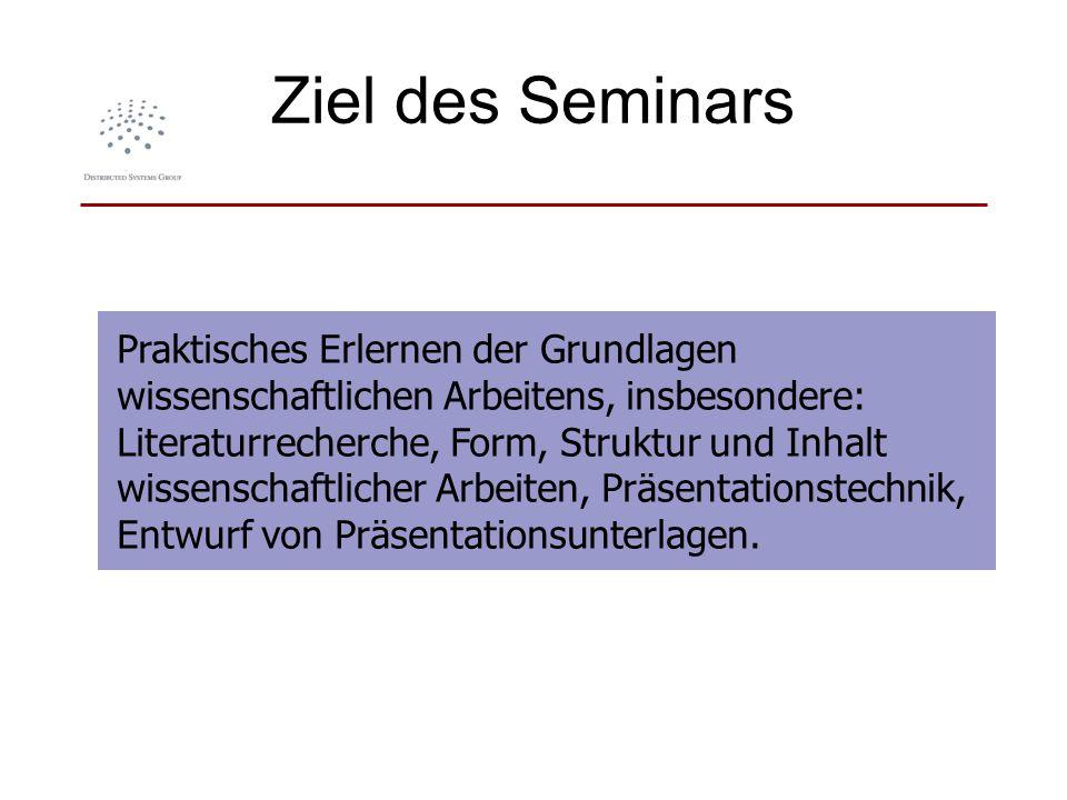 Ziel des Seminars