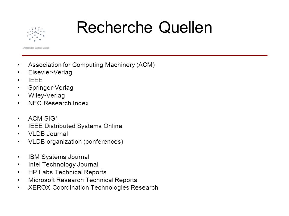 Recherche Quellen Association for Computing Machinery (ACM)