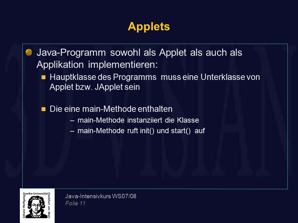 Applets Java-Programm sowohl als Applet als auch als Applikation implementieren: