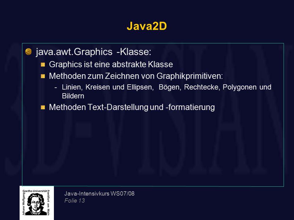 Java2D java.awt.Graphics -Klasse: Graphics ist eine abstrakte Klasse