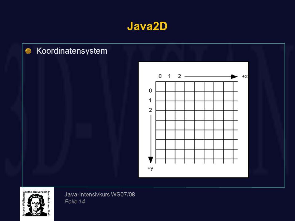 Java2D Koordinatensystem Java-Intensivkurs WS07/08 Folie 14