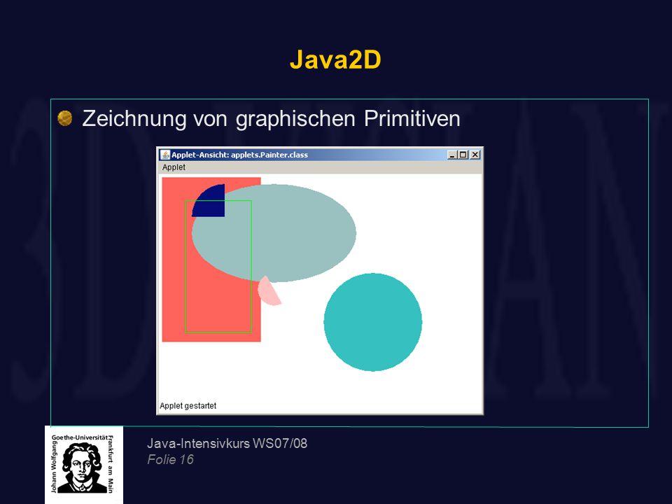 Java2D Zeichnung von graphischen Primitiven Java-Intensivkurs WS07/08
