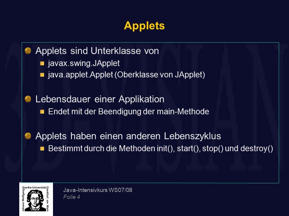 Applets Applets sind Unterklasse von Lebensdauer einer Applikation