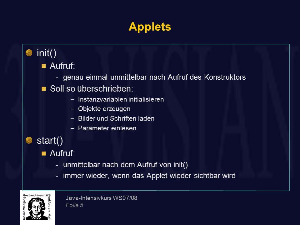 Applets init() start() Aufruf: Soll so überschrieben:
