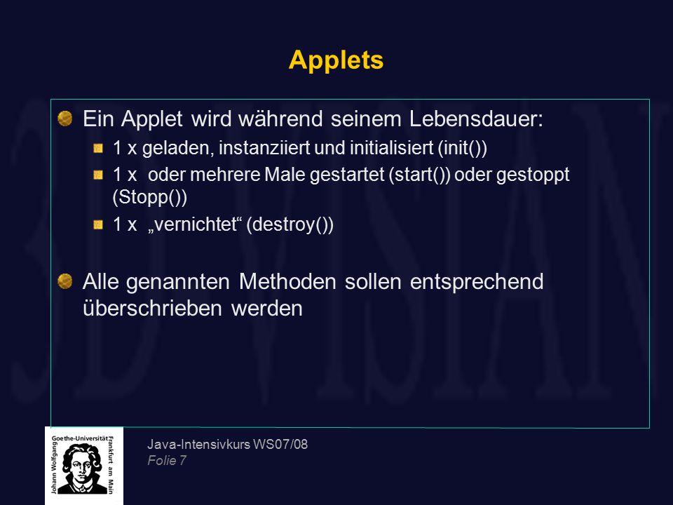 Applets Ein Applet wird während seinem Lebensdauer: