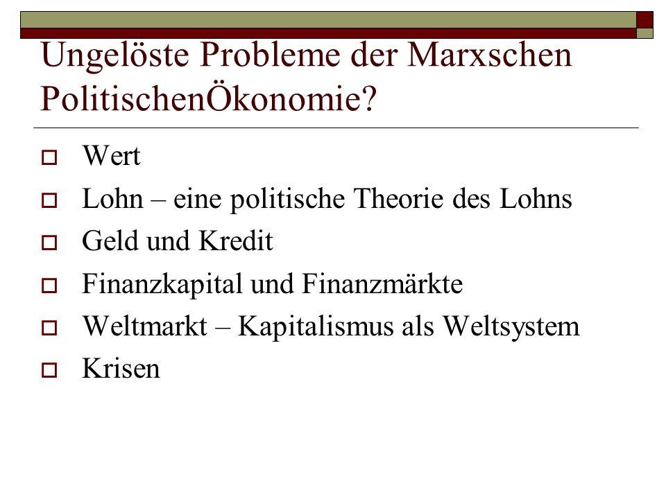 Ungelöste Probleme der Marxschen PolitischenÖkonomie