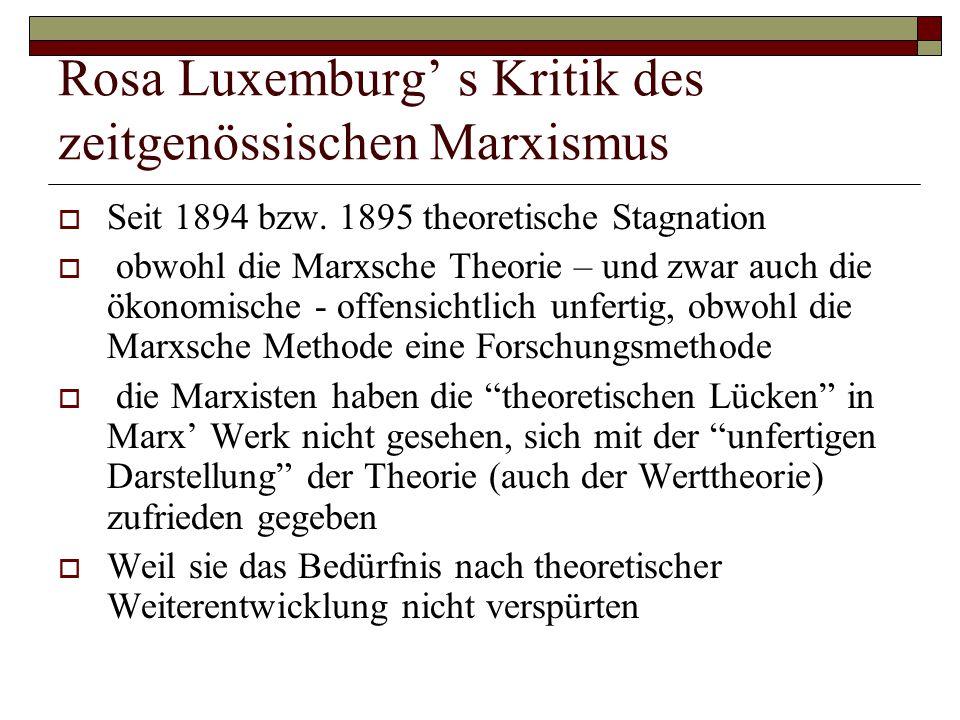 Rosa Luxemburg' s Kritik des zeitgenössischen Marxismus