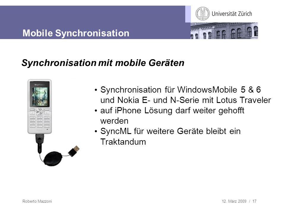 Mobile Synchronisation