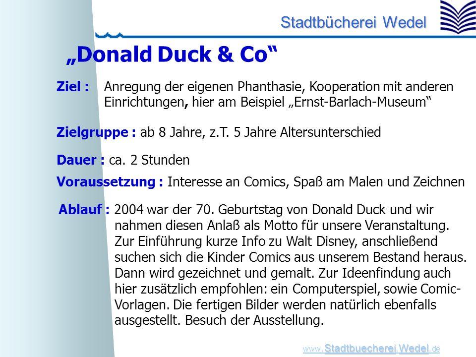 """""""Donald Duck & Co Ziel : Anregung der eigenen Phanthasie, Kooperation mit anderen. Einrichtungen, hier am Beispiel """"Ernst-Barlach-Museum"""