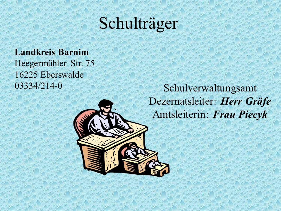 Schulträger Schulverwaltungsamt Dezernatsleiter: Herr Gräfe