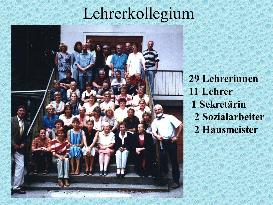 Lehrerkollegium 29 Lehrerinnen 11 Lehrer 1 Sekretärin 2 Sozialarbeiter