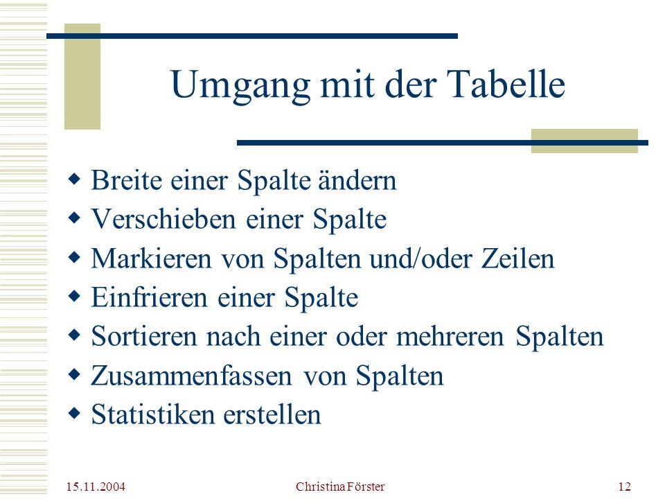 Umgang mit der Tabelle Breite einer Spalte ändern