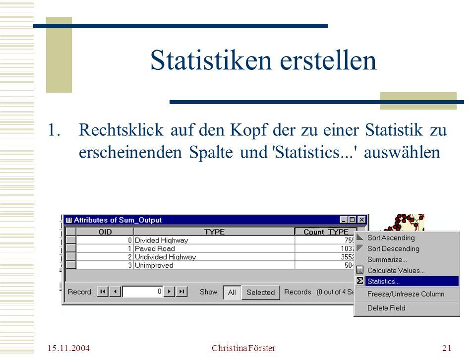 Statistiken erstellen