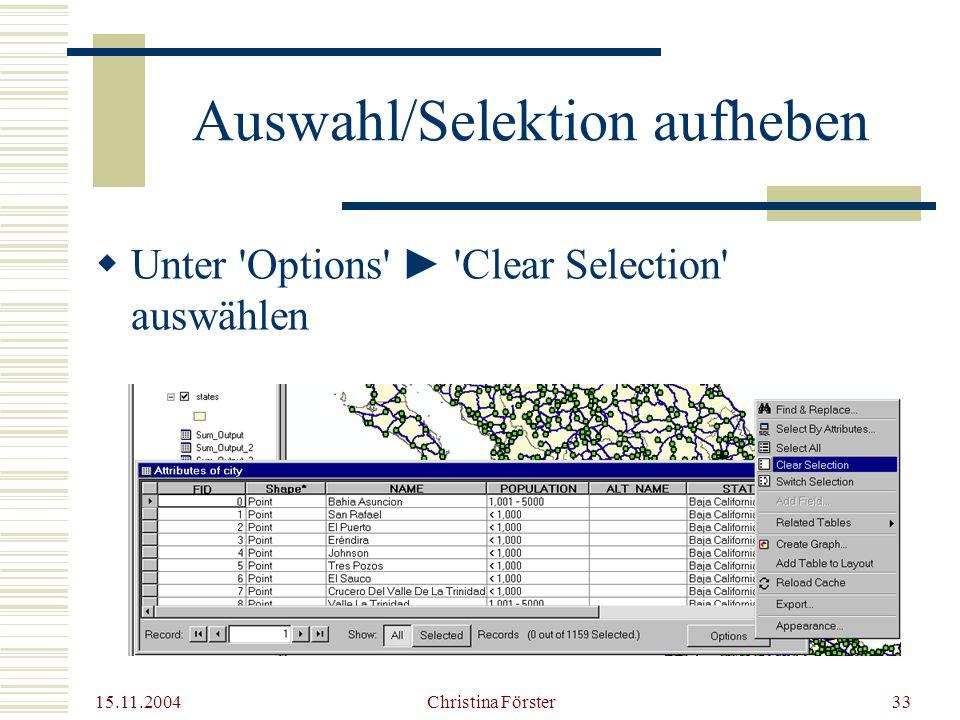 Auswahl/Selektion aufheben