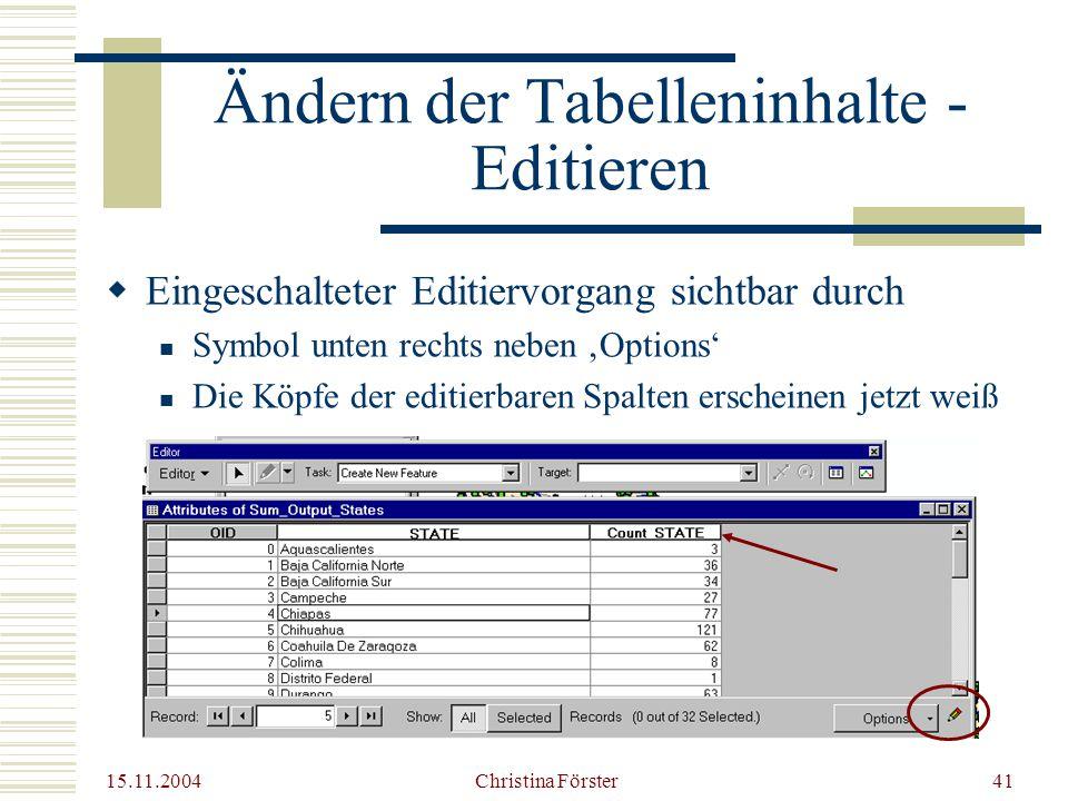 Ändern der Tabelleninhalte - Editieren