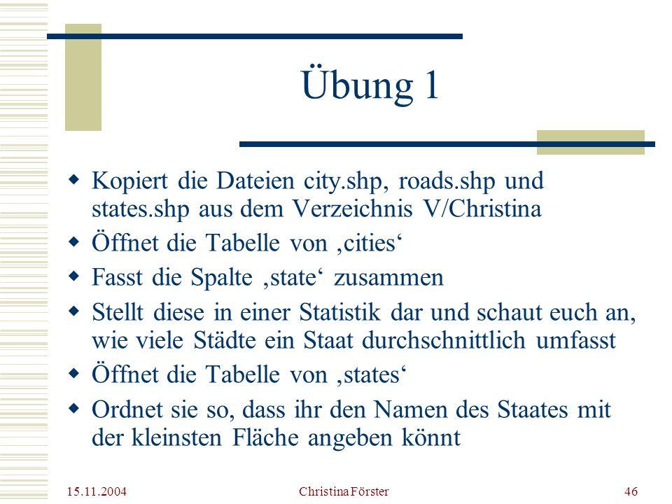 Übung 1 Kopiert die Dateien city.shp, roads.shp und states.shp aus dem Verzeichnis V/Christina. Öffnet die Tabelle von 'cities'