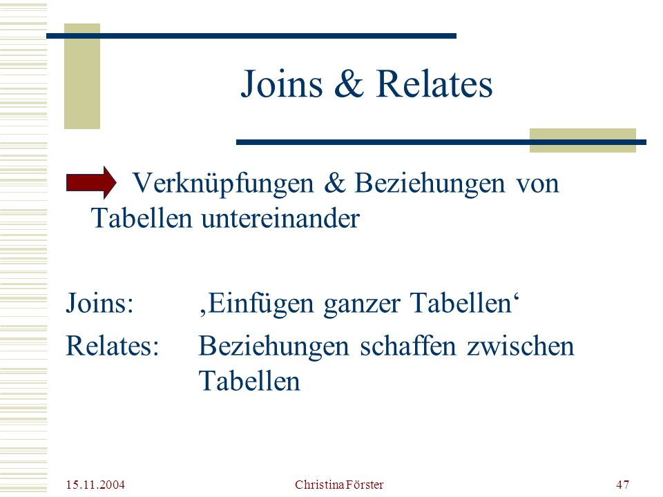 Joins & Relates Verknüpfungen & Beziehungen von Tabellen untereinander
