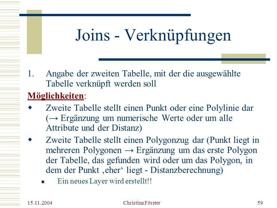 Joins - Verknüpfungen Angabe der zweiten Tabelle, mit der die ausgewählte Tabelle verknüpft werden soll.
