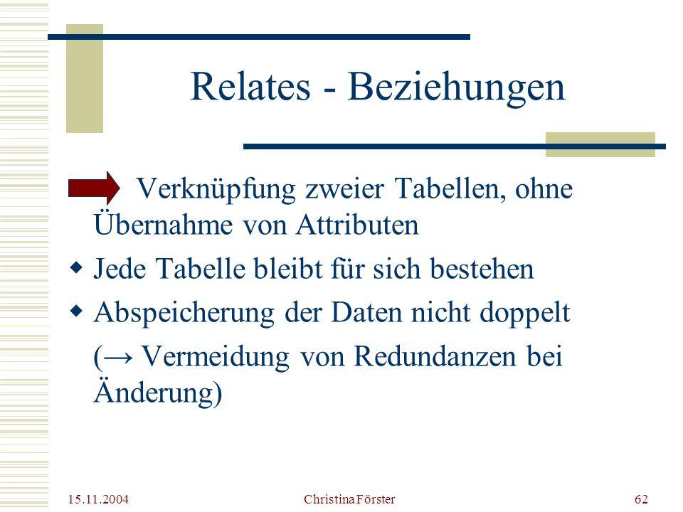 Relates - Beziehungen Verknüpfung zweier Tabellen, ohne Übernahme von Attributen. Jede Tabelle bleibt für sich bestehen.