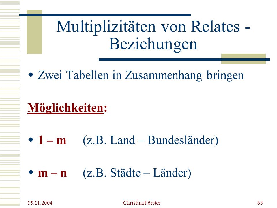 Multiplizitäten von Relates - Beziehungen