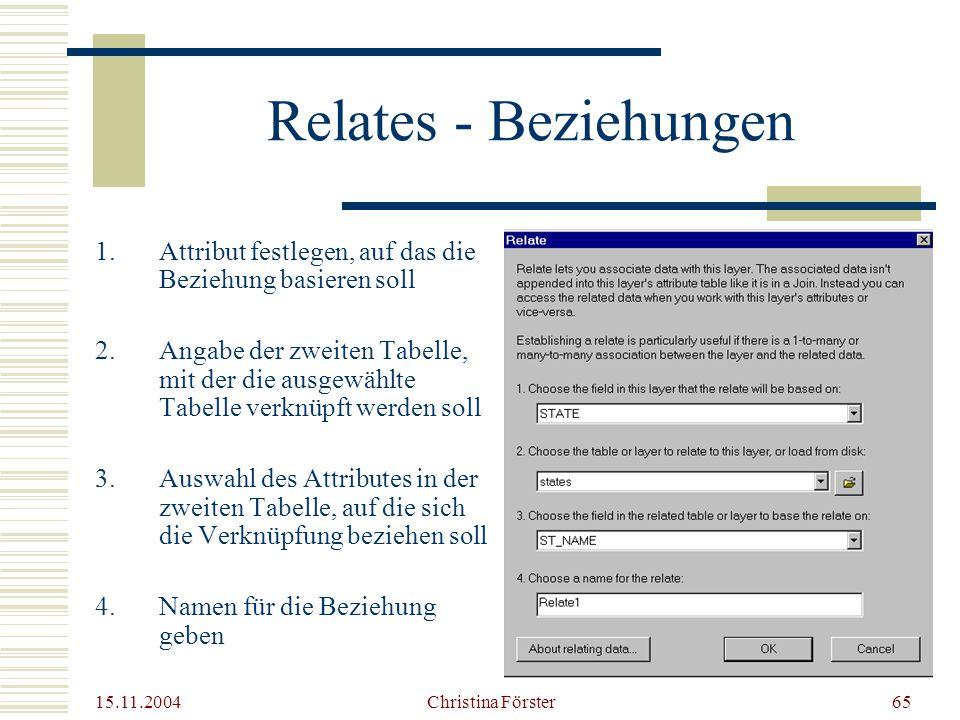 Relates - Beziehungen Attribut festlegen, auf das die Beziehung basieren soll.