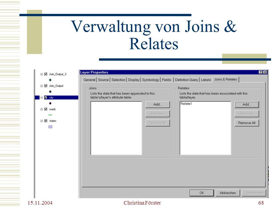 Verwaltung von Joins & Relates