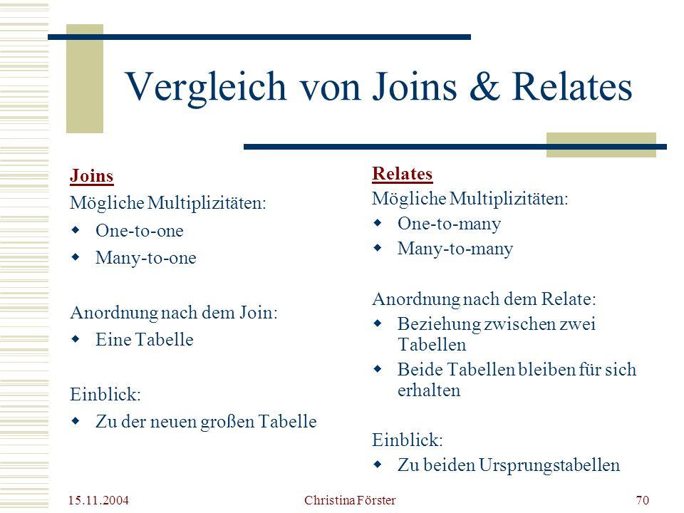 Vergleich von Joins & Relates