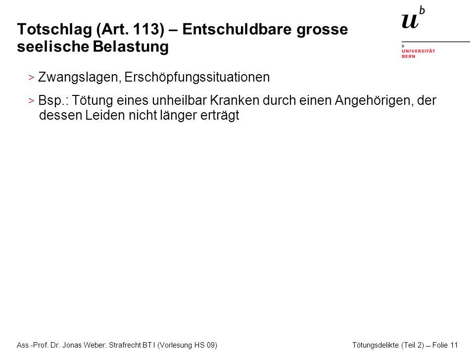 Totschlag (Art. 113) – Entschuldbare grosse seelische Belastung