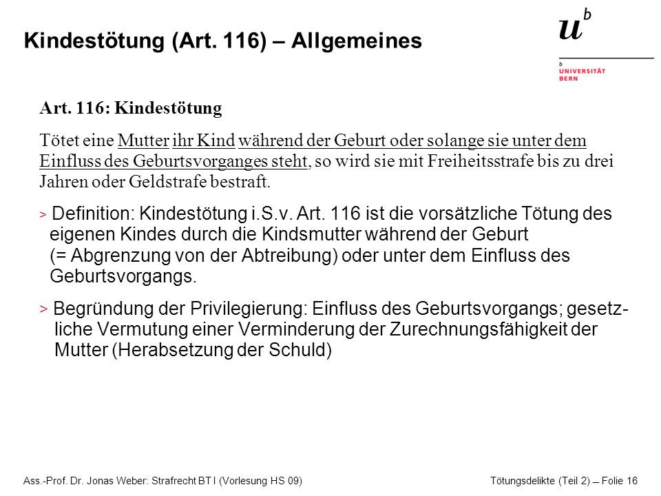 Kindestötung (Art. 116) – Allgemeines