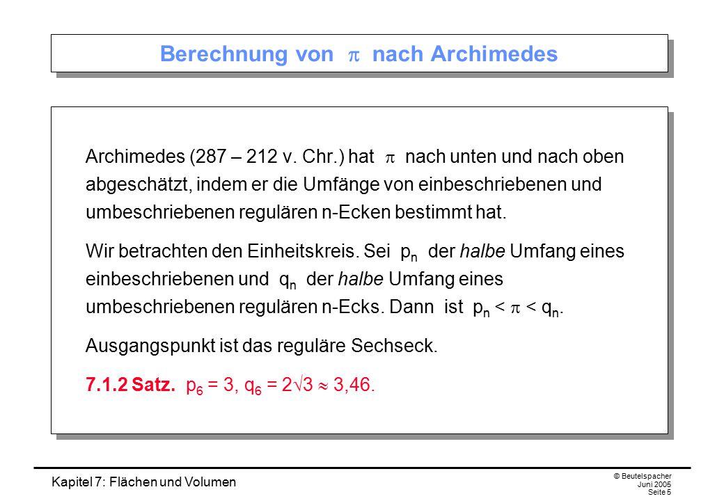 Berechnung von p nach Archimedes