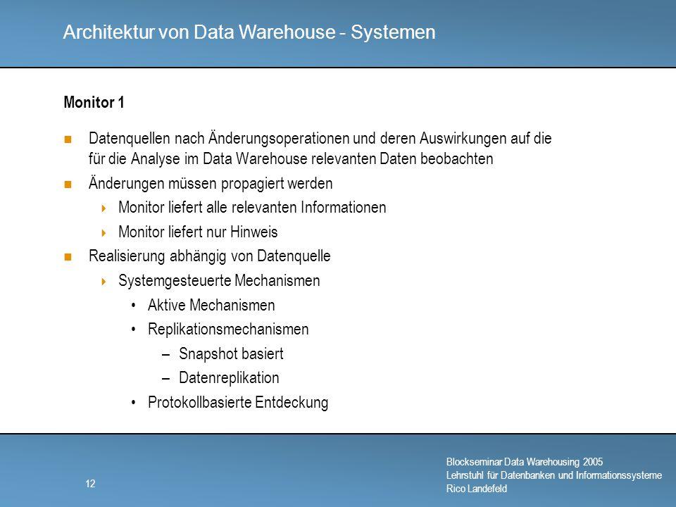 Monitor 1 Datenquellen nach Änderungsoperationen und deren Auswirkungen auf die für die Analyse im Data Warehouse relevanten Daten beobachten.