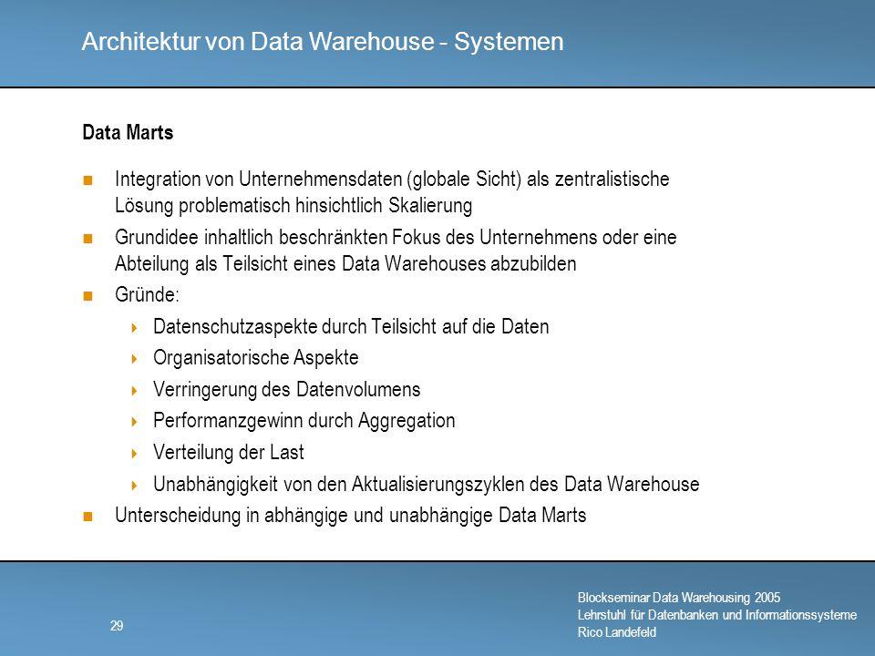 Data Marts Integration von Unternehmensdaten (globale Sicht) als zentralistische Lösung problematisch hinsichtlich Skalierung.