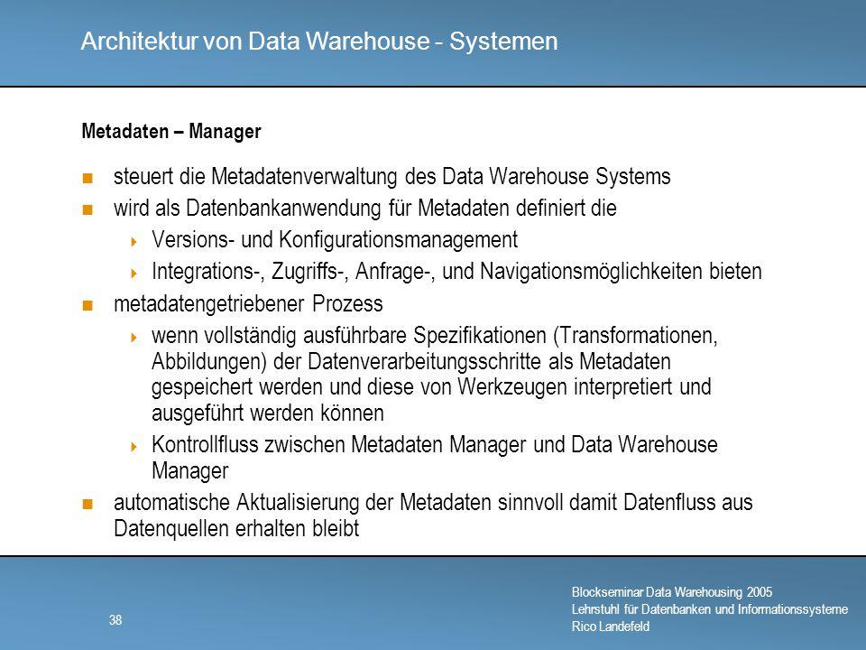 steuert die Metadatenverwaltung des Data Warehouse Systems
