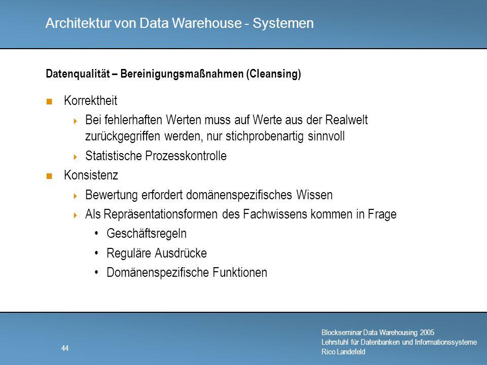 Datenqualität – Bereinigungsmaßnahmen (Cleansing)