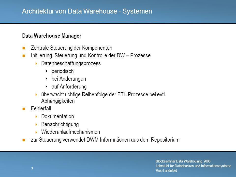 Data Warehouse Manager