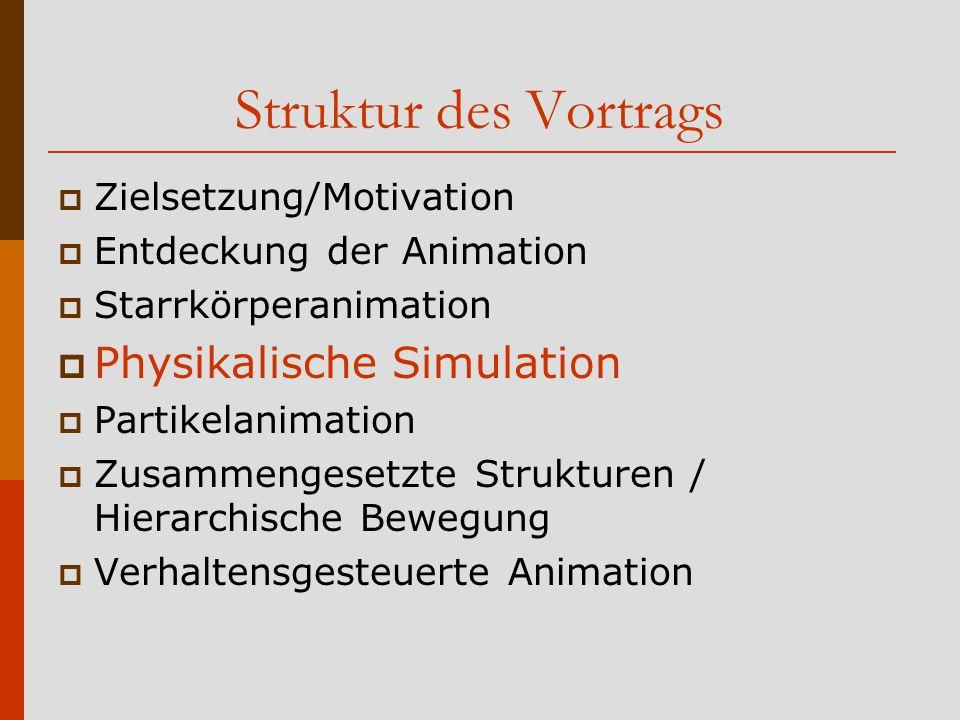 Struktur des Vortrags Physikalische Simulation Zielsetzung/Motivation