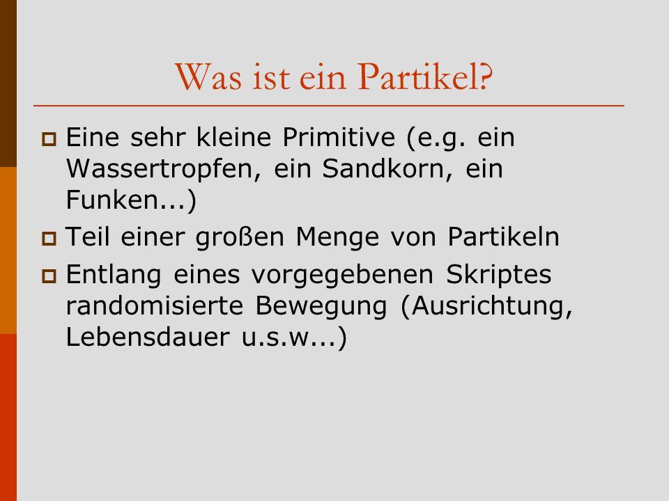 Was ist ein Partikel Eine sehr kleine Primitive (e.g. ein Wassertropfen, ein Sandkorn, ein Funken...)
