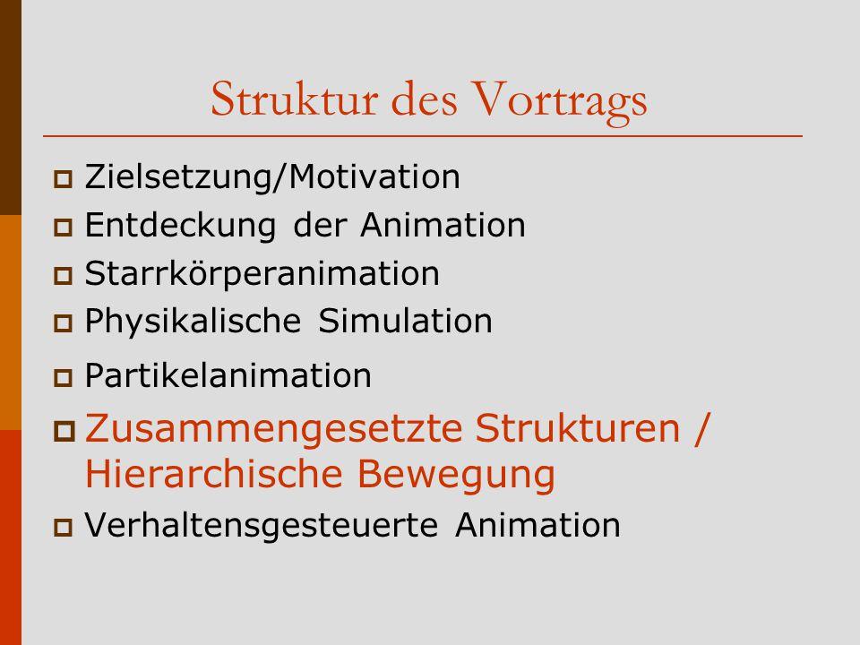 Struktur des Vortrags Zielsetzung/Motivation. Entdeckung der Animation. Starrkörperanimation. Physikalische Simulation.