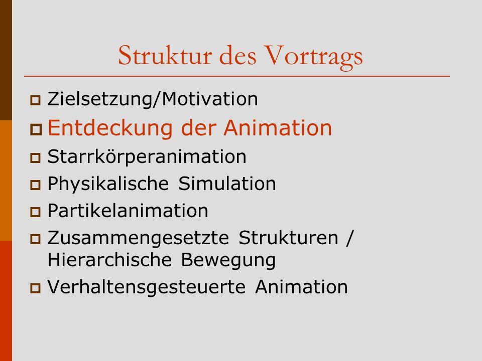 Struktur des Vortrags Entdeckung der Animation Zielsetzung/Motivation