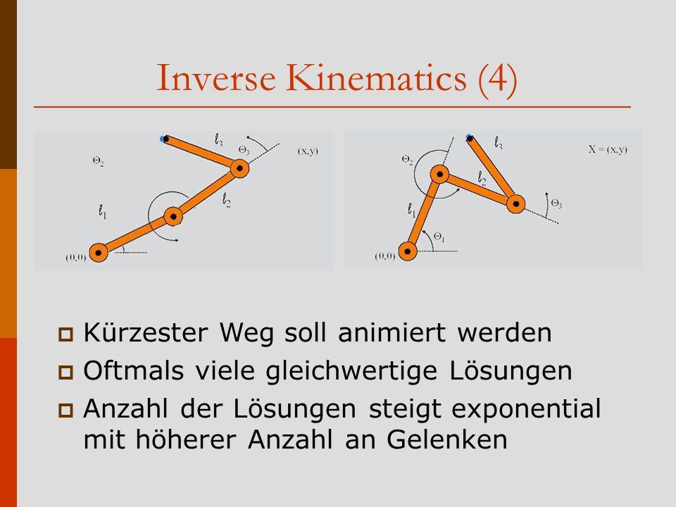Inverse Kinematics (4) Kürzester Weg soll animiert werden