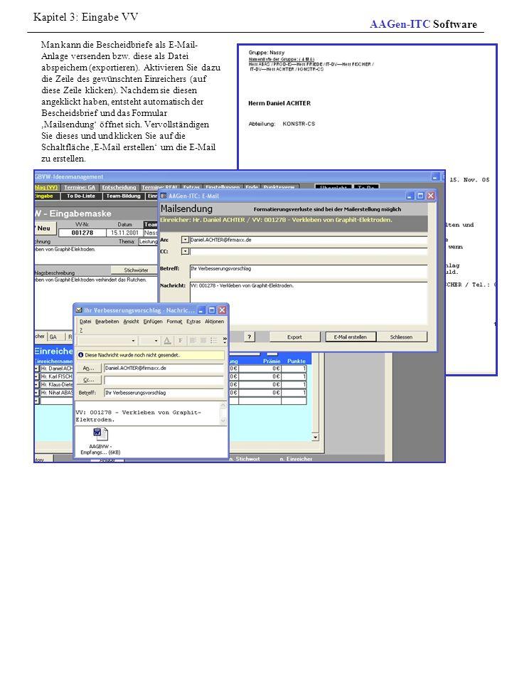 Kapitel 3: Eingabe VV AAGen-ITC Software