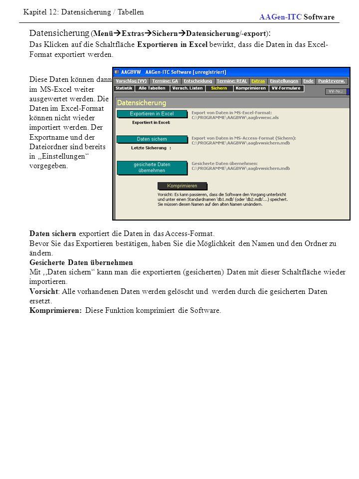 Kapitel 12: Datensicherung / Tabellen