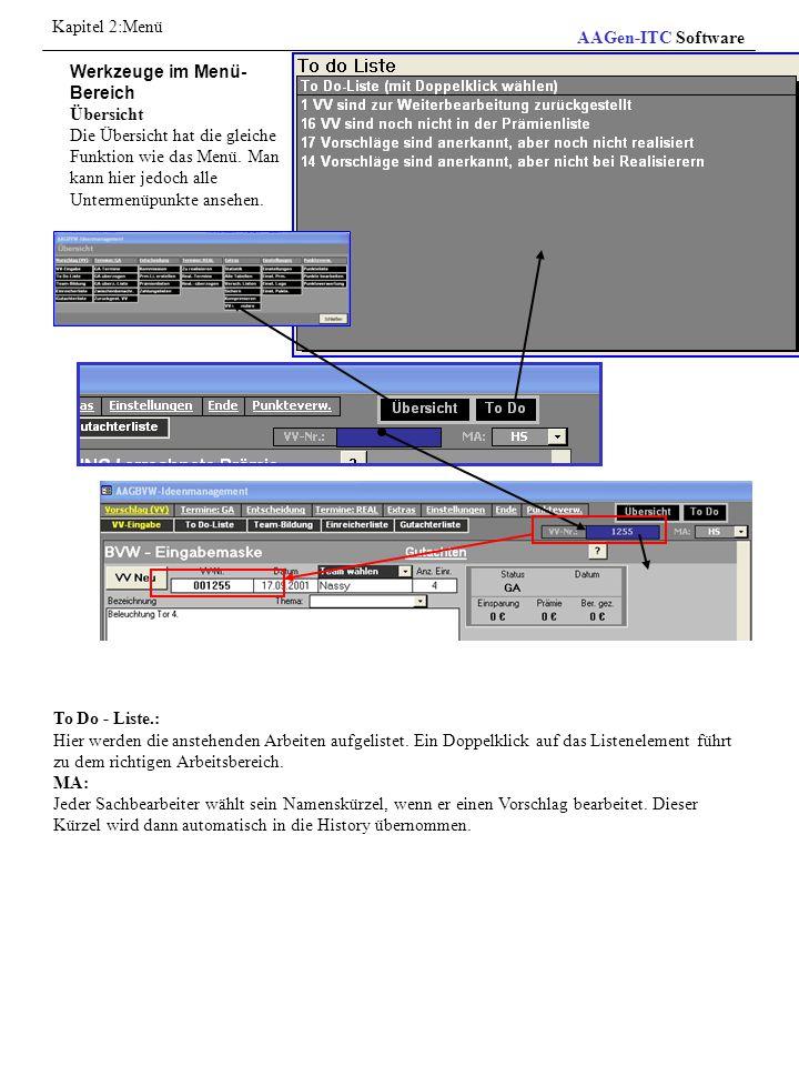Kapitel 2:Menü AAGen-ITC Software. Werkzeuge im Menü-Bereich. Übersicht.