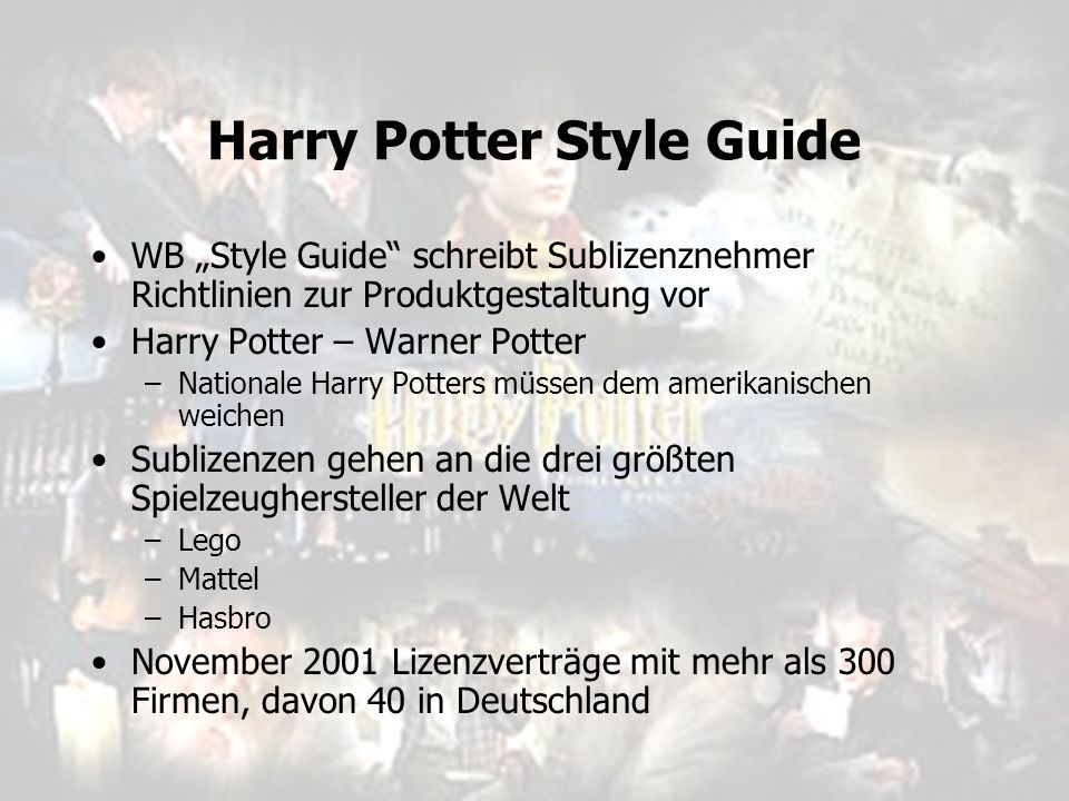 Harry Potter Style Guide