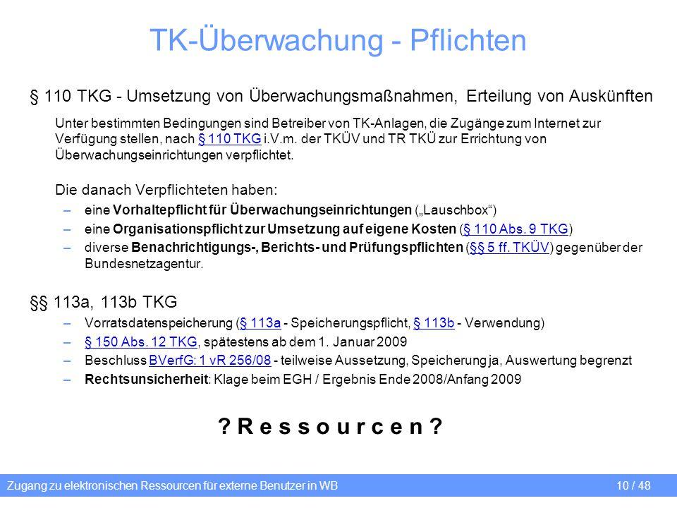 TK-Überwachung - Pflichten