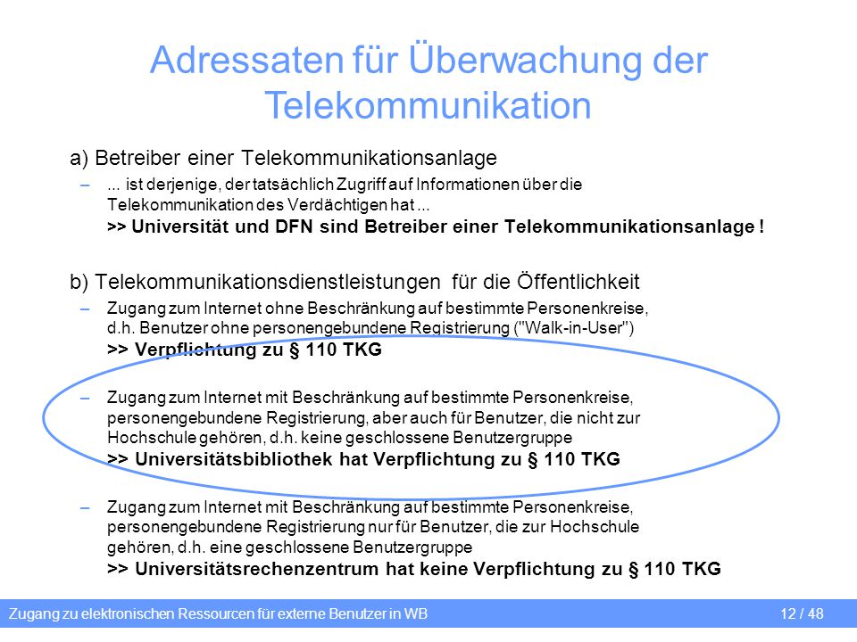 Adressaten für Überwachung der Telekommunikation