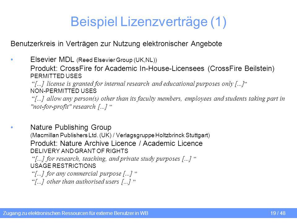 Beispiel Lizenzverträge (1)