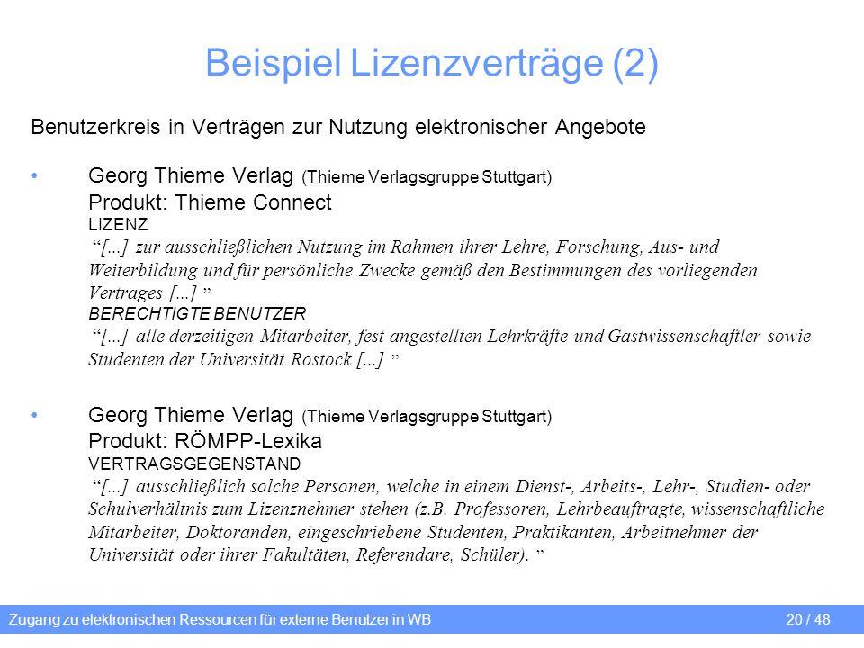 Beispiel Lizenzverträge (2)