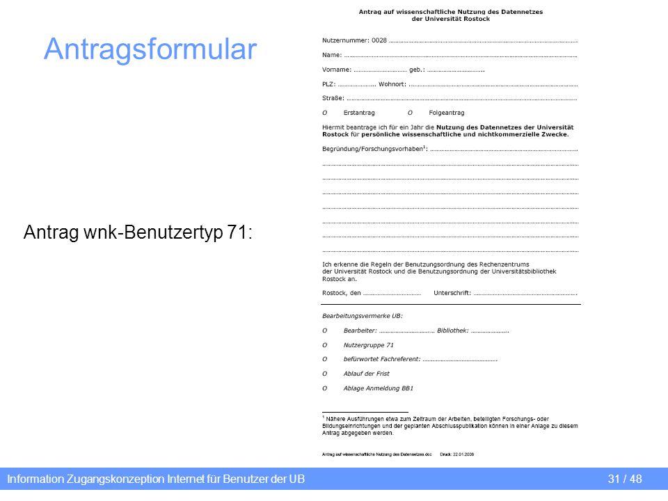 Antragsformular Antrag wnk-Benutzertyp 71: